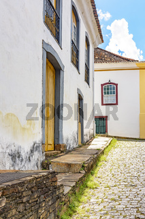 Facade of ancient houses built in colonial architecture