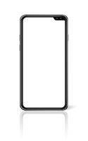 All-screen blank smartphone mockup isolated on white. 3D render