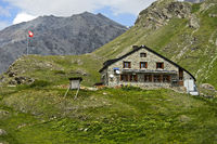 Mountain hut Chanrion Hut of the Swiss Alpine Club SAC,  Val de Bagnes, Valais, Switzerland