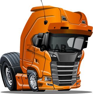 Cartoon semi truck isolated on white background
