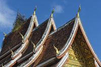 Multi-tiered roof with stylized Naga finials at its end, Luang Prabang, Laos