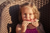 The cute little girl outdoor