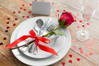 close up of table setting for valentines day