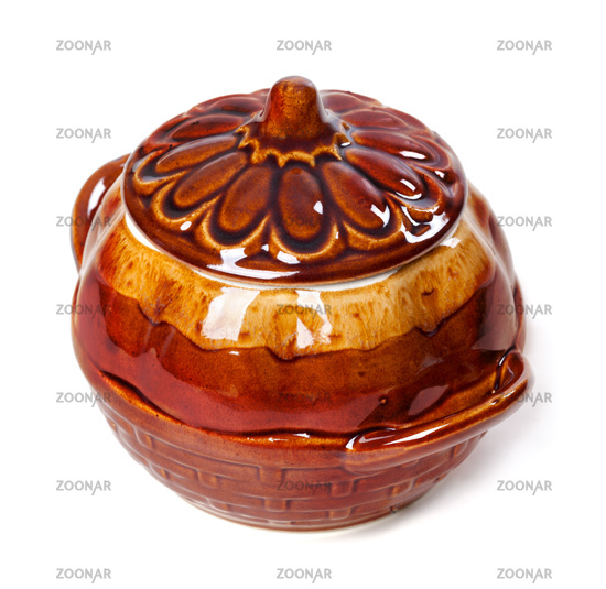 Brown ceramic pot isolated on white
