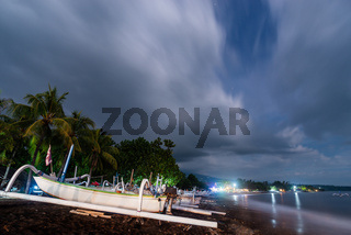 Amed beach at night in Bali, Indonesia