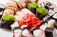 Set of sushi and rolls, Japanese cuisine