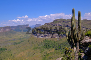 Chapada Diamantina National Park landscape with Morro Do Morrao mountain, view from Morro Do Pai Inacio, Lencois, Brazil