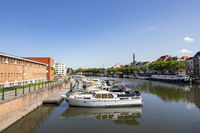 Ghent, Belgium - June 19, 2019: Overview of the Portus Ganda marina on a sunny day