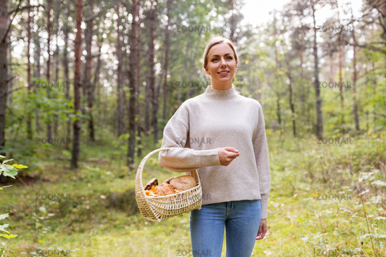 woman with basket picking mushrooms in forest