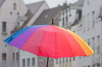 Open rainbow coloured umbrella