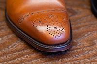 toe of full grain leather brown shoe