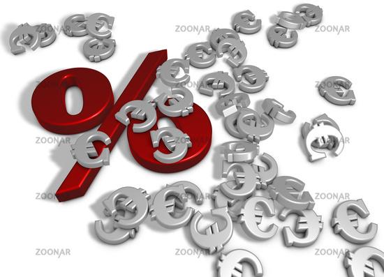 prozentsymbol und eurozeichen auf weißem hintergrund - 3d rendering