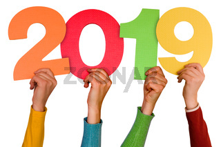 Hands with color numbers shows year 2019