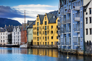 houses in center of the Alesund city