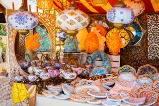 Colorful lamps at the medieval market of Valencia, Spain