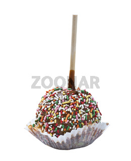 Colorful caramel apple on white background