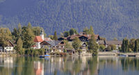 Scenery of the municipality Walchensee with reflection in the lake, Bavaria, September