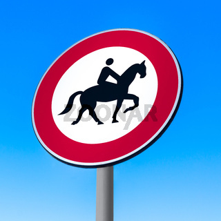 Road sign to prohibit passage with horse