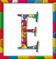Letter E in stained glass