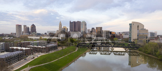 Aerial View over the Columbus Ohio Skyline Featuring Scioto River