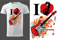 T-shirt design with Guitar and Notes