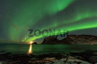 Lofoten Haukland Polarlicht
