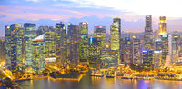 Twilight Singapore panoramic aerial view