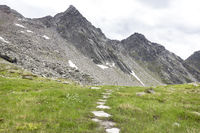 Path to the Rauchkofel peak in Aurina Valley in South Tyrol, Italy