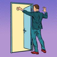 Pop art man opens the door, greeting