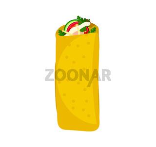 Shawarma Arab Turkish food flat style. Isolated on white background. Vector illustration