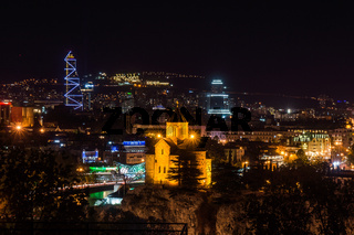 cathedral and modern buldings in tiflis at night