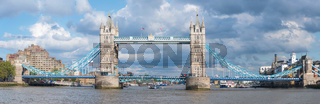 Panoramic view of Tower Bridge in London.