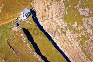 Mount Pilatus church on cliff aerial view