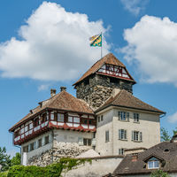 view of the historic half-timbered medieval castle in the city of Frauenfeld