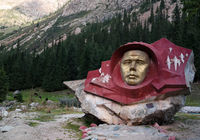 bust of Yuri Gagarin,first russian Cosmonaut, at the Barskoon canyon, Kyrgyzstan