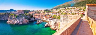 Dubrovnik bay and historic walls panoramic view