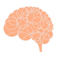 Circled brain icon in soft colors and plain style.