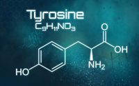 Chemical formula of Thyrosine on a futuristic background