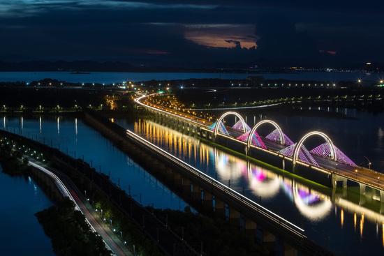 beautiful lake view at night on jiujiang