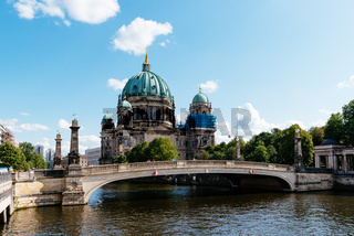 Scenic view of Spree river and Berlin Cathedral in Berlin