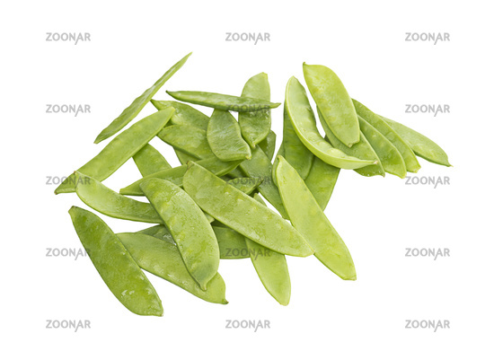 Sugar snap peas isolated on white