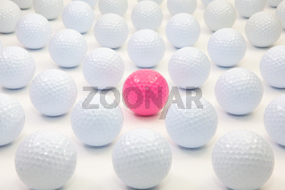 Pattern with white and pink golf balls