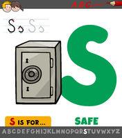 letter S worksheet with cartoon safe