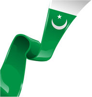 pakistan ribbon flag on white background