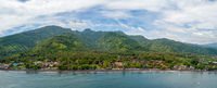 Panoramic aerial view of Amed beach in Bali, Indonesia