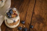 Yogurt parfait with blueberry and granola