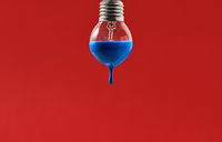 Bulb with blue paint on it