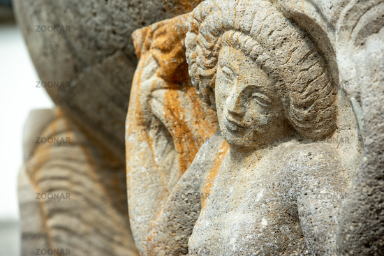Relief at the fountain of the Art Nouveau spa complex Sprudelhof, Bad Nauheim
