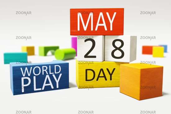 International World Play Day 28th of May with colorful building blocks