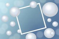 White Pearls around rectangular white frame on blue background